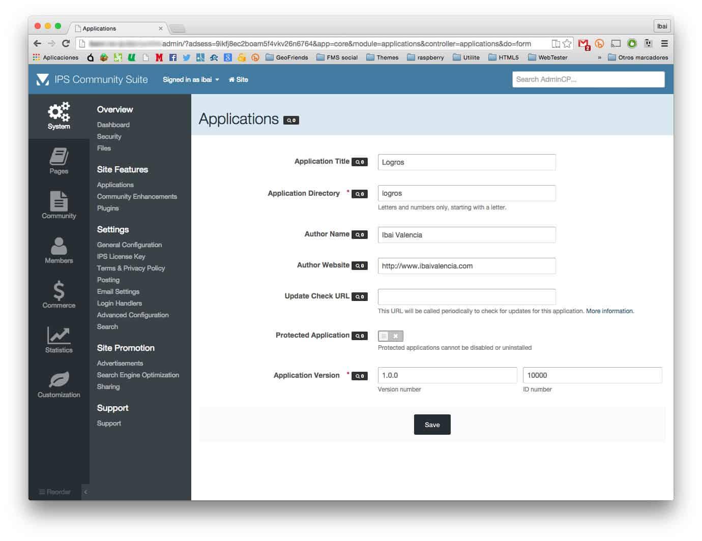Creando aplicación IPS Community Suite